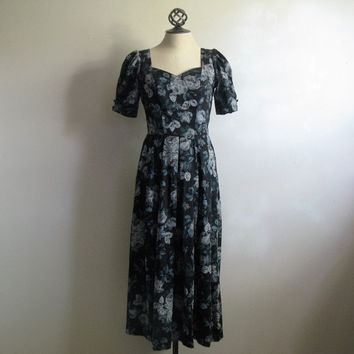 Black LAURA ASHLEY flower Dress Vintage 1980s Black Gray Cut Out Bow Summer Dress 8US