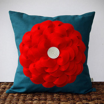 Large Red Felt Flower PILLOW in Teal Linen with White Wooden Retro Button by JillianReneDecor Bright Colorful Home Decor - Spring Summer