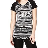 Black Aztec Sporty Striped Scoop Neck Tee