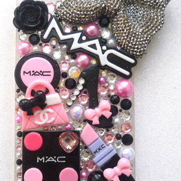 Makeup Case heart pink lipstick hearts wand love cupcakes i phone 4 4s 5 5C 5S case barbie crystals high heels lipstick rose logo pearls