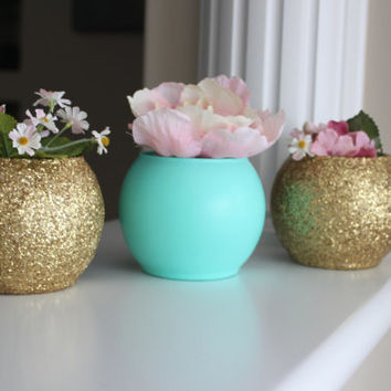 Gold And Turquoise Wedding Centerpiece Bridal Party Baby Shower Decor Engagement