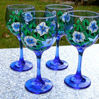 Hand Painted Blue Wine Glasses