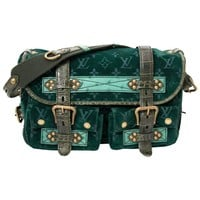 Louis Vuitton Limited Edition Green Monogram Velour Clyde Mon Bag