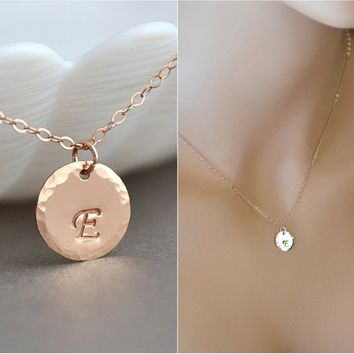 Gold Disc Necklace, Initial Necklace, Hammered Disc, Personalized, Monogram Disc Necklace, Big Rose Gold or Gold or Silver Disc