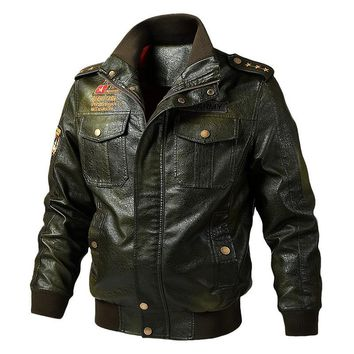 Winter Army Coat Casual PU Leather Men's Jacket Bomber Motorcycle Jackets Pilot Biker Motor Military Tactical Jacket Coats vests