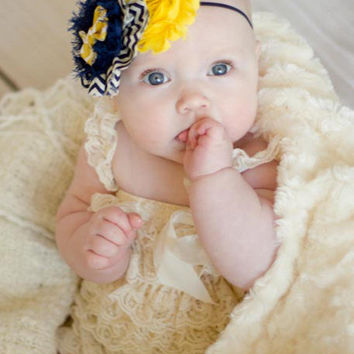 Baby Girl Headbands... Baby  Headband...Navy Yellow Chevron Bow Headband on Navy Skinny Band ... Toddler Headband... Flower Headband
