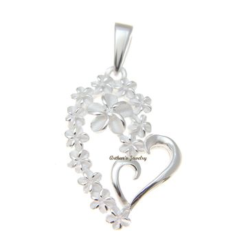 STERLING SILVER 925 13 HAWAIIAN PLUMERIA FLOWER HEART DESIGN PENDANT