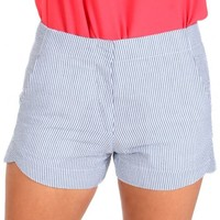 Line And Sinker Navy Seersucker Shorts | Monday Dress Boutique