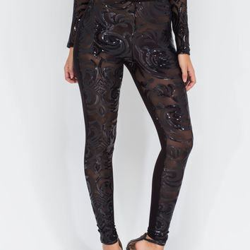 Intricate Memory Sheer Sequin Leggings