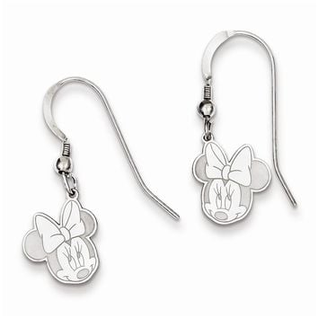 Sterling Silver or Yellow Gold Plated Disney Minnie Dangle Wire Earrings