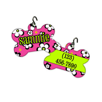TWO SIDED!! Personalized Dog Bone Pet Tag ID Tag - Flower Power Hippie 60s fun pink lime black Name Address Monogrammed Girl Boy Female Male