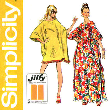 1970s Caftan Pattern Simplicity 5628 Easy To Sew One Size Pullover Cover Up Robe Muu Muu House Lounging Dress Womens Vintage Sewing Patterns