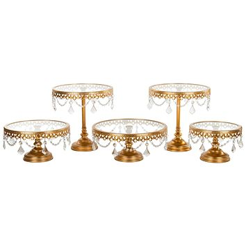 5-Piece Glass Top Crystal Cake Stand Set (Gold)