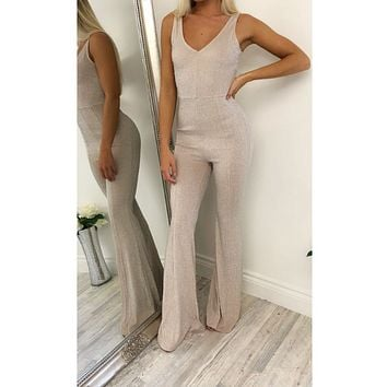 Spring new women's fashion sling gold wire V-neck waist micro-la pull pants