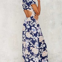 Need a Trim Floral Maxi Dress - Navy