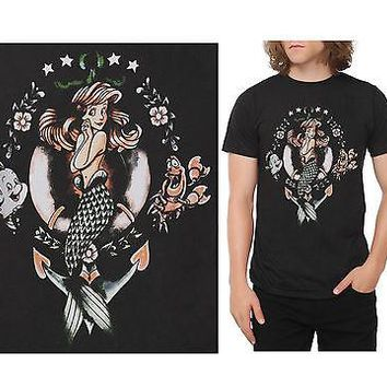 Licensed cool Disney Little Mermaid ARIEL Sebastian Flounder Tattoo Black UNISEX Tee Shirt T