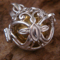 Harmony Ball with Ornate Butterfly motif as the hinged Sterling Silver Cage housing a Brass Chime Ball, aka Bola Necklace, Angel Caller 202