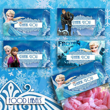 Frozen - Food Labels - High Quality 300 DPI- Party Printables- Instant Download