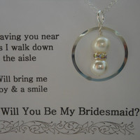 Will You Be My Bridesmaid, Silver ETERNITY NECKLACE, Pearls and Crystals, Sterling Silver, Maid of Honor