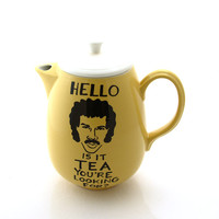 Lionel Richie teapot hello is it tea you're looking for upcycled yellow large teapot holds 6-8 cups of tea funny teapot for tea lover