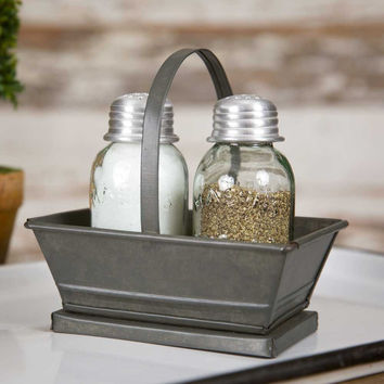 Metal Tote Salt and Pepper Caddy- SET OF 2 - *FREE SHIPPING*