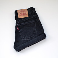 "vintage 90s LEVIS high waisted shorts /  black denim / cuffed hem / size 27"" waist"