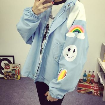 Trendy Spring autumn Harajuku cartoon printing loose women rainbow Cartoon Letter Print jacket AT_94_13