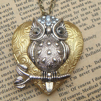 Steampunk Owl 52101 Locket Necklace Vintage Style by sallydesign