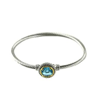 Chartral Aqua Crystal Silver Cable Bangle Bracelet
