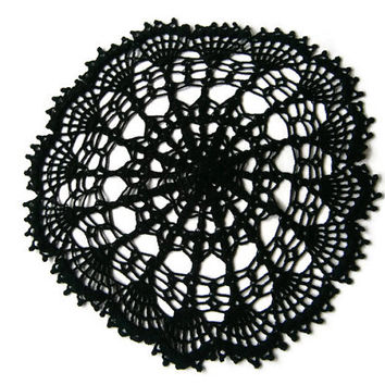 Crochet doily,lace Dollie, table decoration, crocheted place mat,doily tablecloth,table runner, napkin, black