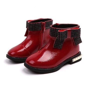 KKABBYII 2018 Autumn Girl Fashion Butterfly Princess Shoe Children Pu Leather Boot Baby Brand Ankle Boot Black Red