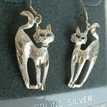 Sterling Silver Arched Cats Dangle Earrings Animal Jewelry
