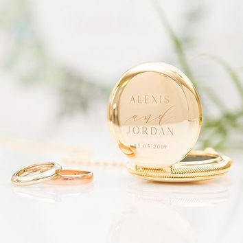 Personalized Pocket Wedding Ring Holder with Chain - Modern Couple Etching Gold (Pack of 1)
