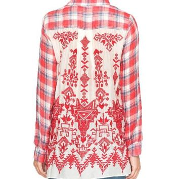 DCCKAB3 Johnny Was Women's Misha Embroidered Back Shirt Plaid