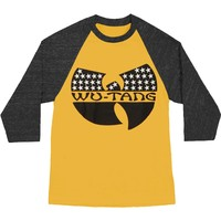 Wu Tang Clan Men's  Patriotic Logo 3/4 Sleeve Mens Raglan Baseball Jersey Black/Yellow