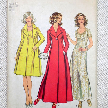 Vintage Pattern Simplicity 5351 1970s Ladies dress coat Bust 38 scoop neck maxi dress cloth coat A Line Seam interest overcoat Trench