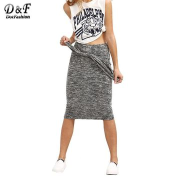 Dotfashion Female Grey Knotted Front Sheath Midi Skirt Summer Plain Knee Length Plain Slim Pencil Casual Skirt