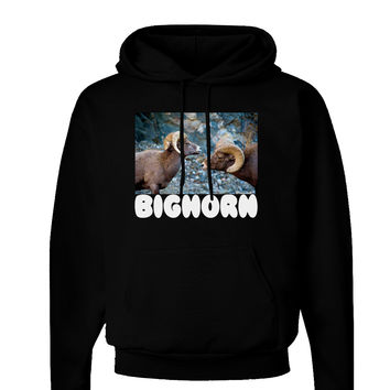 Two Bighorn Rams Text Dark Hoodie Sweatshirt