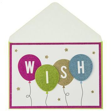 Glitter Wish Balloons Birthday Handmade Card