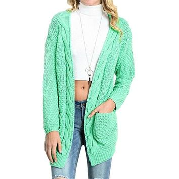 Knit Chunky Cardigan Sweaters Green