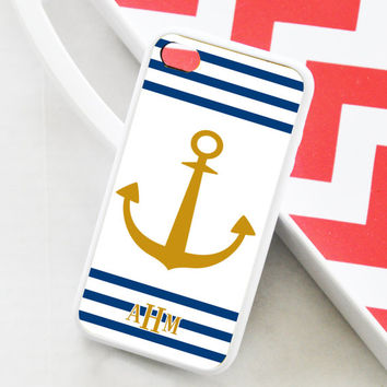Stripes and Anchor iPhone 5s Case, Personalized Stripes and Anchor iPhone 5c Case, Anchor iPhone 5s Cover, Personalized iPhone Cover