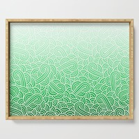 Faded green and white swirls doodles Serving Tray by savousepate