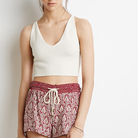 Ornate Floral Drawstring Shorts