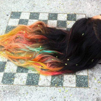 Sunset Ombre Dip Dyed Hair Clip In Hair Extensions by Cloud9Jewels