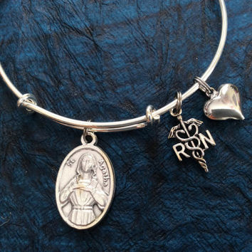 Saint Agatha with RN Charm Silver Adjustable Expandable Silver Plated Bangle Bracelet Patron Saint of Nurses and Breast Cancer
