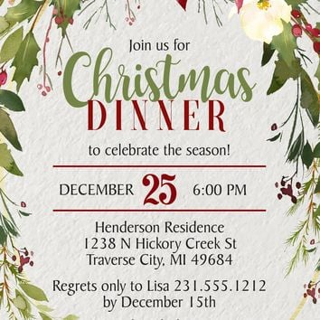 Holly Christmas Invitations