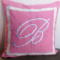 Pink Monogrammed embroidered pillow Cover- Pink Throw pillows 18 inches Decorative Pillow cover Dorm Decor