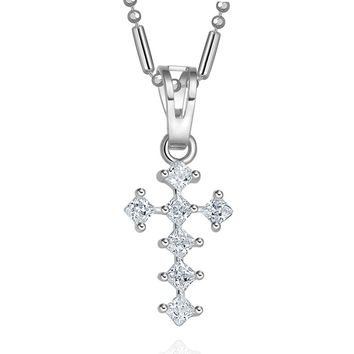 Tiny Cute Cross Protection Powers Amulet Silver-Tone Princess Cut Sparkling Crystals Necklace