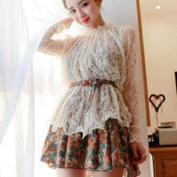 Retro Sweet Lace Translucent Long Sleeve Top With Floral Pattern Strappy Dress Set