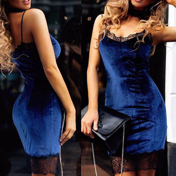 Sexy Blue Patchwork Lace Clubwear Velvet Dresses Mini Spaghetti Strap Cami Velour package hip slim Dress vestidos de playa
